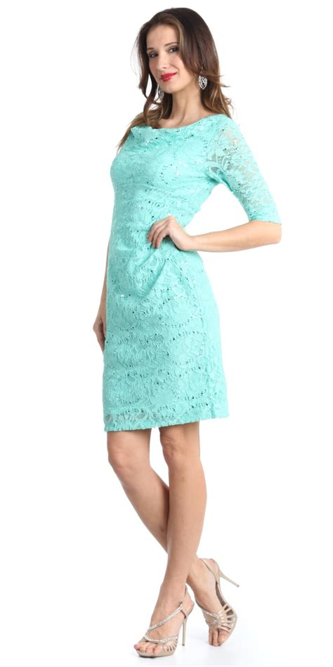 aqua knee length lace scoop neck dress with mid length sleeves