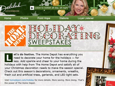 Home Depot Sweepstakes - delilah s the home depot holiday decorating sweepstakes