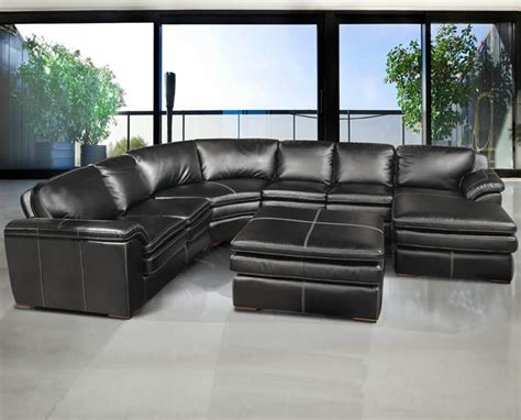 Black Sectional Furniture by Black Leather Sofa Sectional Thesofa