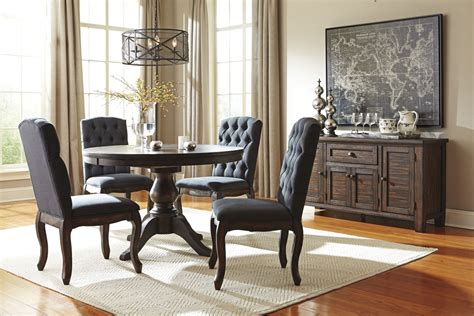 trudell dark brown  extendable pedestal dining room