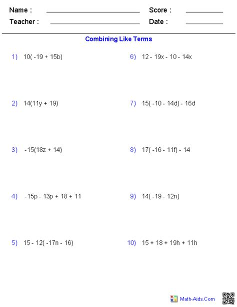 Combining Like Terms And Distributive Property Worksheet by Algebra 1 Worksheets Basics For Algebra 1 Worksheets