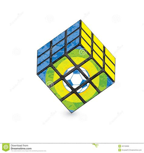 pattern of magic cube 3d style soccer pattern on white editorial photo image