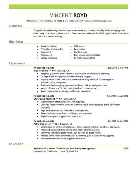 Exle Resume Of Housekeeping In Hotel Housekeeping Aide Resume Exle Hotel Hospitality Sle Resumes Livecareer