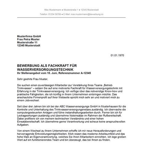Bewerbung Einleitung Jobwechsel Bewerbung Als Fachkraft F 252 R Wasserversorgungstechnik