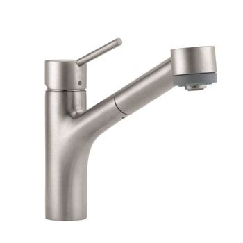 hansgrohe talis kitchen faucet hansgrohe 06462860 talis single pull out kitchen faucet steel optik faucetdepot