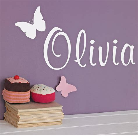 personalised name wall stickers uk personalised butterfly wall sticker by nutmeg