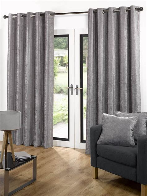 Velvet Ready Made Eyelet Curtains Grey Free Uk Delivery