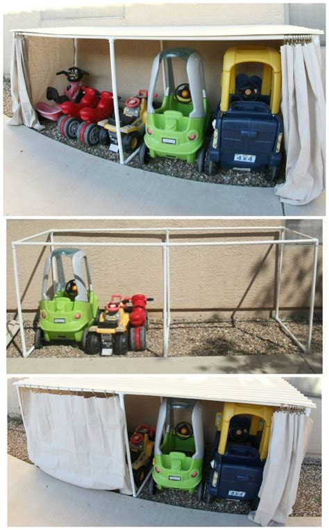 diy backyard toys diy covered kiddie car parking garage outdoor toy