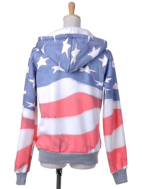 white and blue american flag zip up fashion hoodie jacket size s l ebay