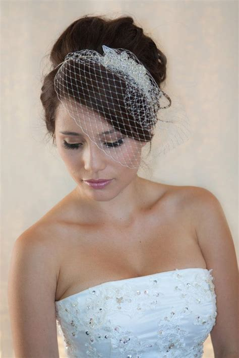 American Wedding Hairstyles With Birdcage Veil by Wedding Birdcage Veil With Rhinestone Applique