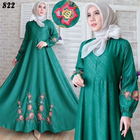 Busana Muslim Baju Wanita Tere Puff maxi baloteli embos bordir c822 model gamis modern terbaru