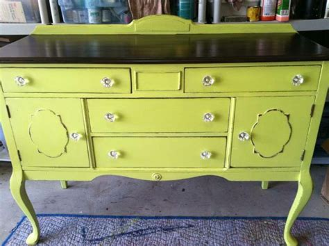 yellow painted antique buffet painted furniture by blue