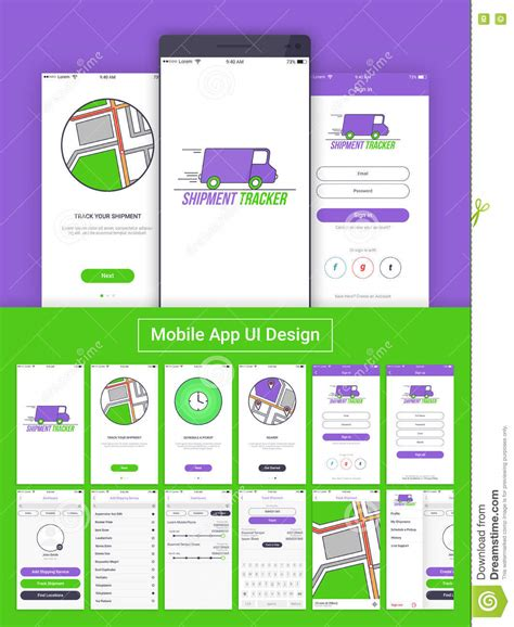 layout design for mobile application shipment tracker mobile app ui ux and gui stock