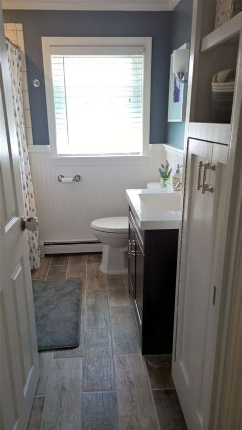 bath remodel cloud color by sherwin williams lowe s vanity quot driftwood quot floor tile