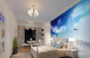 Black and white wardrobe and blue wallpaper for bedroom download 3d