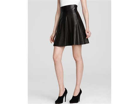 robert rodriguez skirt leather fit flare in black lyst
