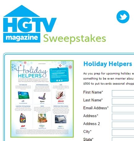 Hgtv Magazine Sweepstakes - hgtv magazine holiday helpers sweepstakes sweeps maniac