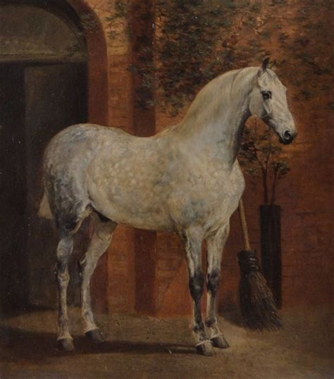 horse outside artworks of alfred f de prades british 19th century
