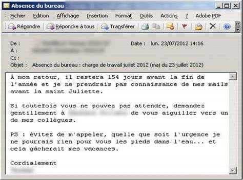 exemple message d absence du bureau vos mails d absence r 233 v 232 lent quel employ 233 vous 234 tes
