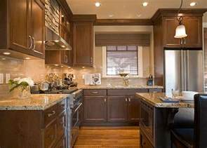 Kitchen With Brown Cabinets Solarius Granite Paired With Subway Tile Backsplash
