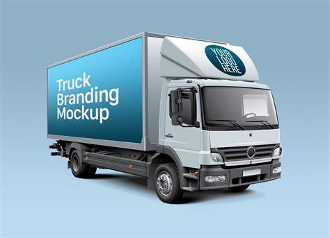 free truck free white cube truck branding mockup psd mockups