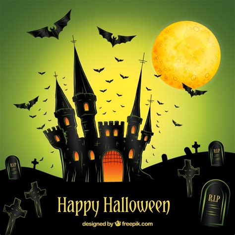 imagenes de feliz walloween happy halloween background with hand drawn castle vector