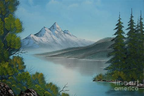 Mountain Lake Painting A La Bob Ross Painting By Bruno Santoro