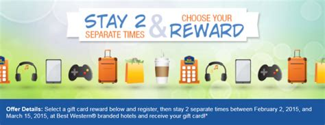 Marriott Gift Card Promotion 2015 - best western rewards spring 2015 promo earn 35 25 gift card or 6 500 bonus points