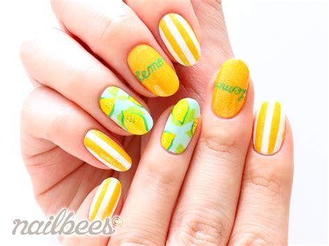 lemon nail art tutorial striped nail designs nailbees
