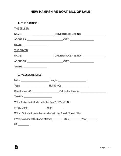 Free New Hshire Boat Bill Of Sale Pdf Word Format Word Pdf Eforms Free Fillable Forms Nh Boat Bill Of Sale Template