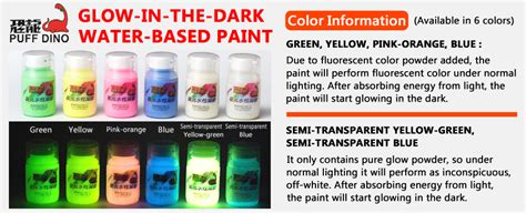 glow in the paint high quality puff dino glow in the water based paint 60ml
