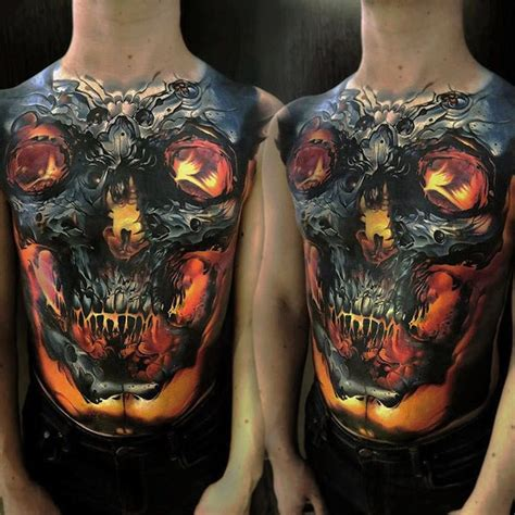 torso tattoo glowing skull torso best design ideas
