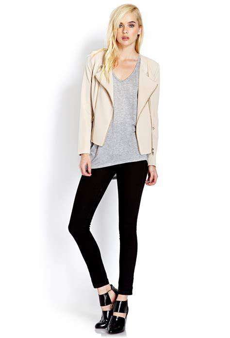 knit moto jacket forever 21 lyst forever 21 futuristic knit moto jacket in