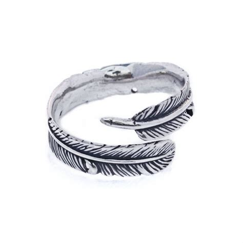 adjustable feather sterling silver finger ring band r006