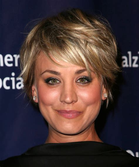 big bang blonde short hair cut pictures kaley cuoco short straight casual hairstyle with side