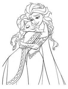 coloring elsa frozen hugging elsa the snow coloring page free