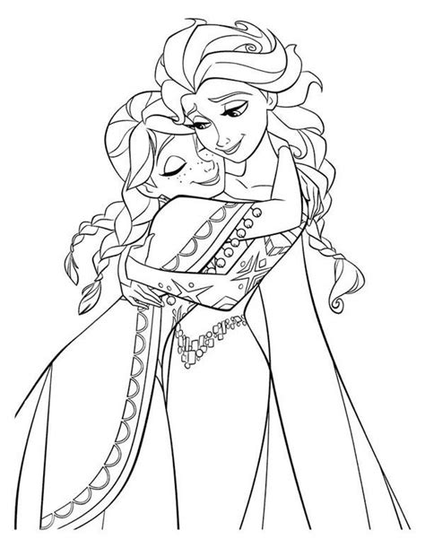 coloring page of elsa and anna anna hugging elsa the snow queen coloring page frozen
