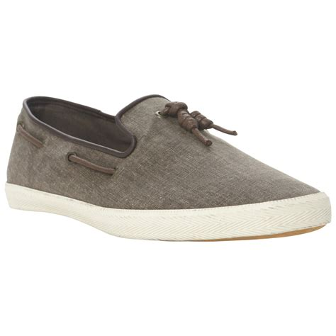 dune treat canvas tassel slip on shoes in gray for