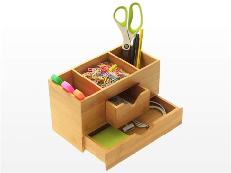 Office Desk Tidy Desk Tidy Stationery Box Desk Organiser Bamboo Office Supplies