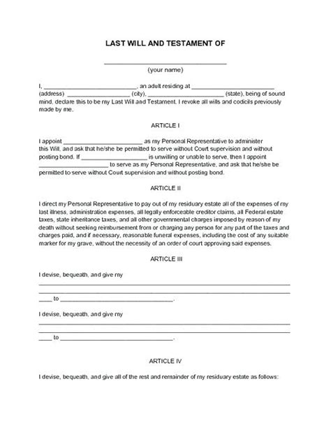 Sle Living Will Form Blank Living Will Exle Living Will Exles Last Will And Testament Template Free Blank Wills Living Forms To Print Narrafy Design