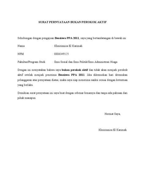 surat pernyataan tidak merokok formulir ppa