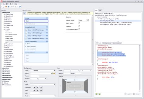 devexpress theme editor asp net asp net css style builder coming in v2011 vol 2
