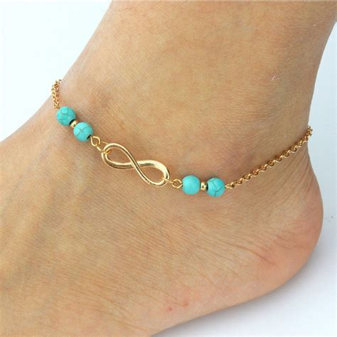 7 Ankle Bracelets by 2016 New Ankle Bracelet Summer Style Turquoise Chain