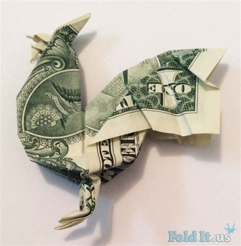 Origami One Dollar Bill - origami rooster
