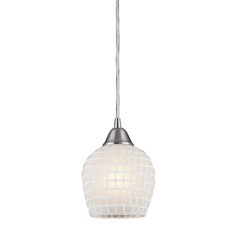 Mosaic Pendant Light Titan Lighting Fusion 1 Light Satin Nickel Pendant With White Mosaic Glass Shade Tn 5454 The