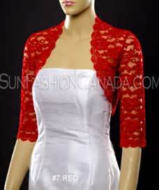 What To Wear To An Evening Wedding In May by Red 3 4 Sleeve Lace Bolero Jacket