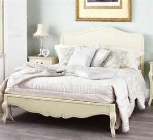 juliette shabby chic chagne double bed with wooden headboard