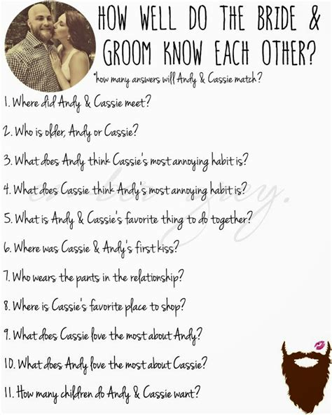 bridal shower questions to ask the groom how well does the groom the questions wedding ideas