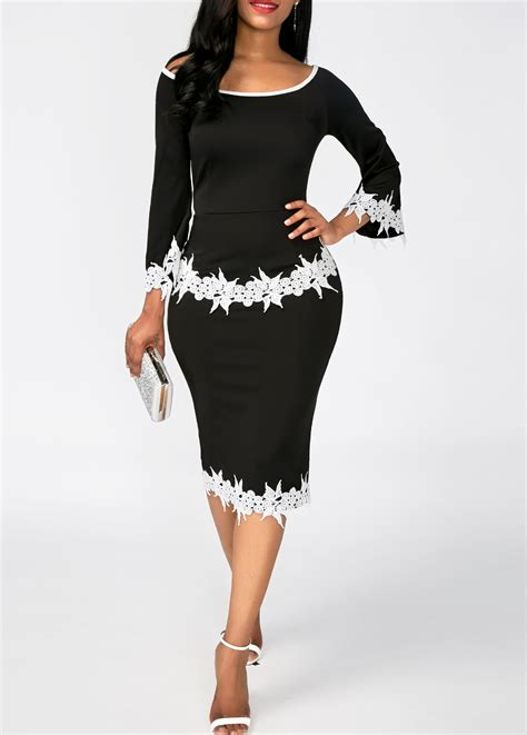 Lace Panel Sheath Dress lace panel black scoop neck sheath dress liligal