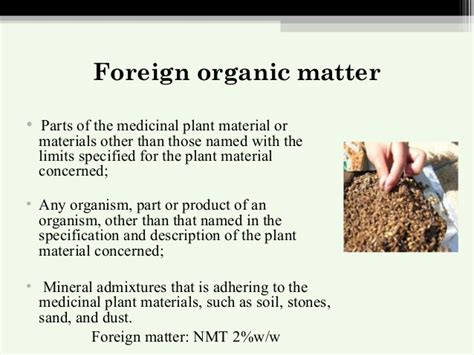 foreign matter standardisation of herbal drg